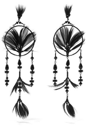 VALENTINO Ruthenium-tone, crystal, bead and feather earrings