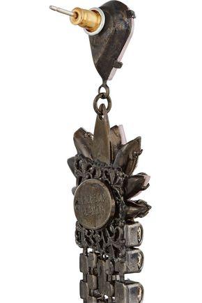 ERICKSON BEAMON Lady of Lake oxidized gunmetal-tone Swarovski crystal earrings