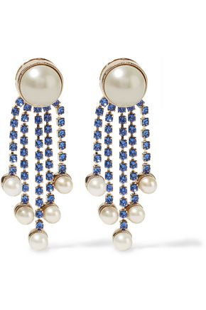 VALENTINO Gold-tone crystal and faux pearl earrings
