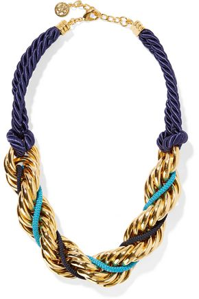 BEN-AMUN Braided cord and gold-plated necklace
