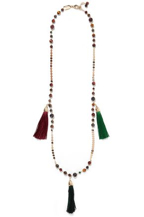 ROSANTICA Gitana gold-tone, bead and tassel necklace