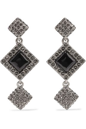 OSCAR DE LA RENTA Navajo silver-tone crystal and resin earrings