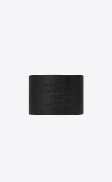SAINT LAURENT Leather Bracelets U  YVES cuff bracelet in black leather a_V4