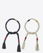SAINT LAURENT Leather Bracelets U Set of plaited and knotted MARRAKECH bracelets in multicolored wool and black metal f