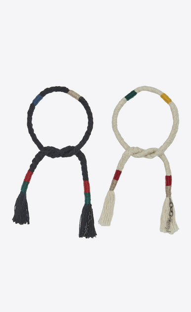 SAINT LAURENT Leather Bracelets U Set of plaited and knotted MARRAKECH bracelets in multicolored wool and black metal a_V4
