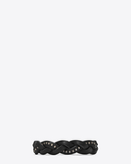 SAINT LAURENT Leather Bracelets U Plaited MARRAKECH bracelet in black studded leather f