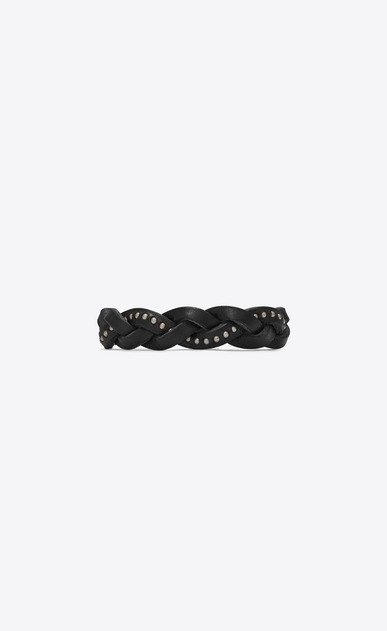SAINT LAURENT Leather Bracelets Man Plaited MARRAKECH bracelet in black studded leather a_V4