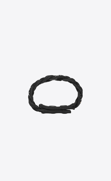 SAINT LAURENT Leather Bracelets Man Plaited MARRAKECH bracelet in black studded leather b_V4