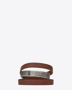 SAINT LAURENT Leather Bracelets U NOMADE three-loop bracelet in dark brown leather and metal. f