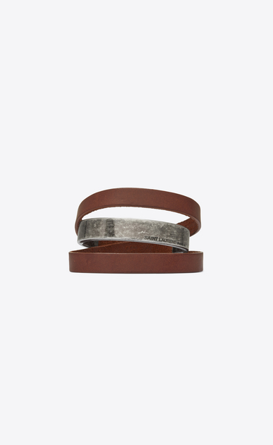 SAINT LAURENT Leather Bracelets Man NOMADE three-loop bracelet in dark brown leather and metal. a_V4