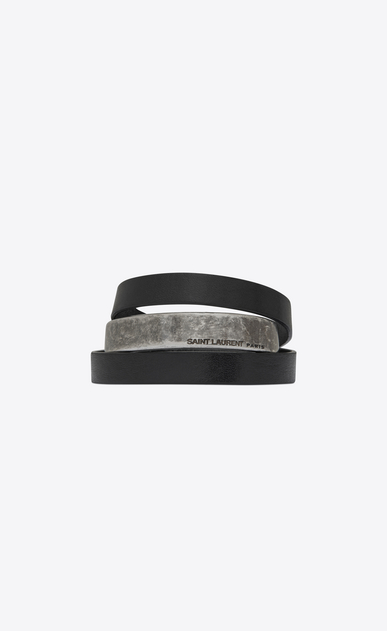 SAINT LAURENT Leather Bracelets Man NOMADE three-loop bracelet in black leather and metal. a_V4