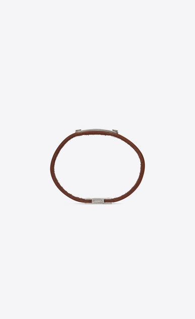 SAINT LAURENT Leather Bracelets Man SAINT LAURENT ID plaque bracelet in brown leather b_V4