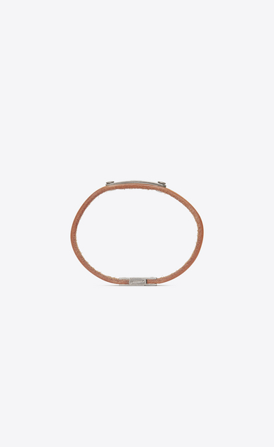 SAINT LAURENT Leather Bracelets Man SAINT LAURENT ID plaque bracelet in caramel leather  b_V4