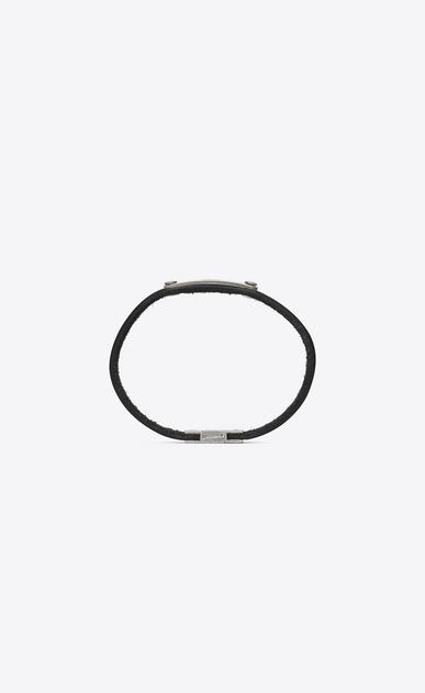 SAINT LAURENT Leather Bracelets Man SAINT LAURENT ID plaque bracelet in black leather  b_V4