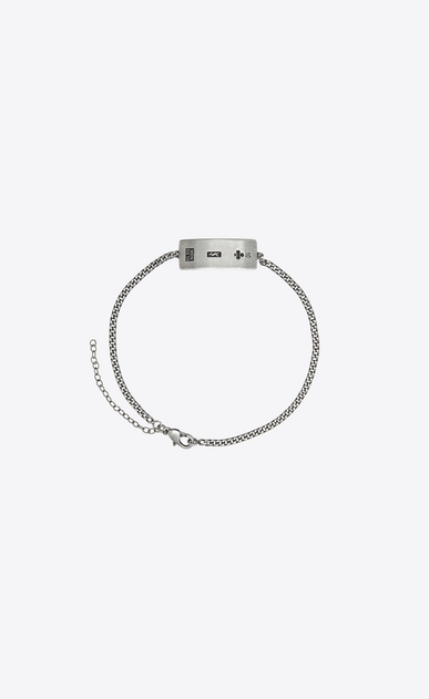 SAINT LAURENT Bracelets U YVES bracelet with engraved plaque in silver-colored brass a_V4