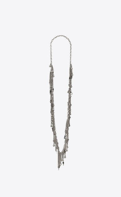 SAINT LAURENT Long necklace Man MARRAKECH tassel necklace in tin and silver-toned brass and enamel a_V4
