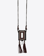 SAINT LAURENT Long necklace U  MARRAKECH cigarette case in garnet leather, metal and mirror f