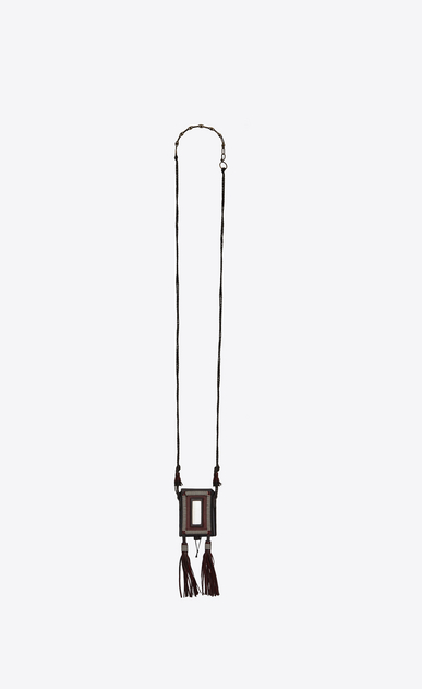 SAINT LAURENT Long necklace U  MARRAKECH cigarette case in garnet leather, metal and mirror a_V4