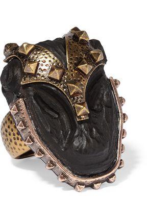VALENTINO Burnished gold-plated ebony ring