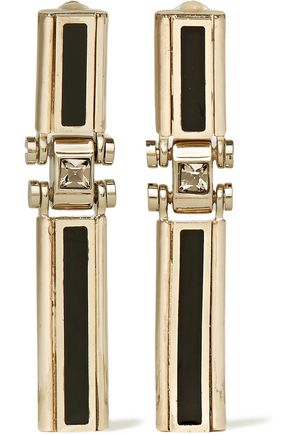 LANVIN Gold-tone, Swarovski crystal and resin clip earrings