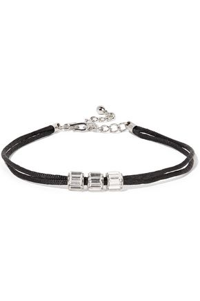 Cord, silver-tone and crystal choker