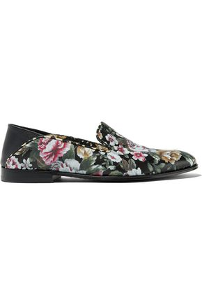 ALEXANDER MCQUEEN Floral-print leather loafers