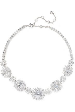 Silver-plated cubic zirconia necklace