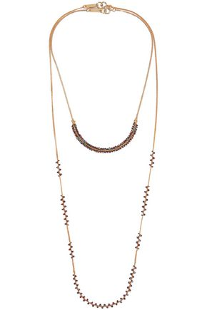 Set of two gold-tone beaded necklaces