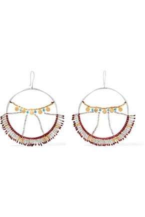 SCOSHA Wonderland silver, gold-plated and turquoise hoop earrings