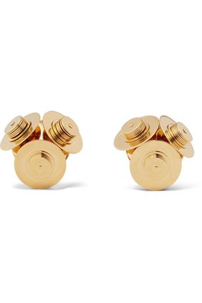 Satellite gold-plated clip earrings
