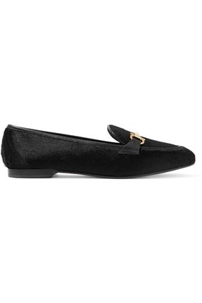 SALVATORE FERRAGAMO Embellished calf hair and leather loafers