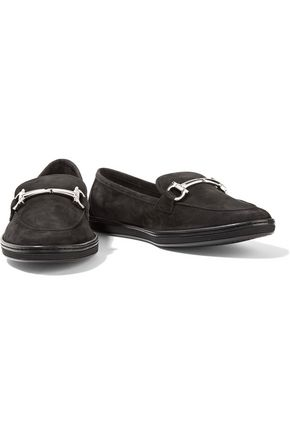 SALVATORE FERRAGAMO Embellished suede loafers