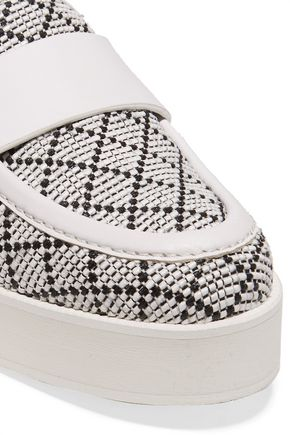 PALOMA BARCELÓ Leather-trimmed woven raffia platform loafers