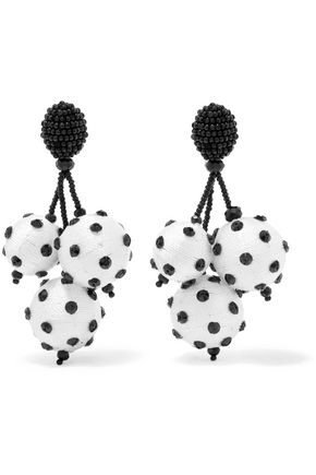 OSCAR DE LA RENTA Embellished cord clip-on earrings