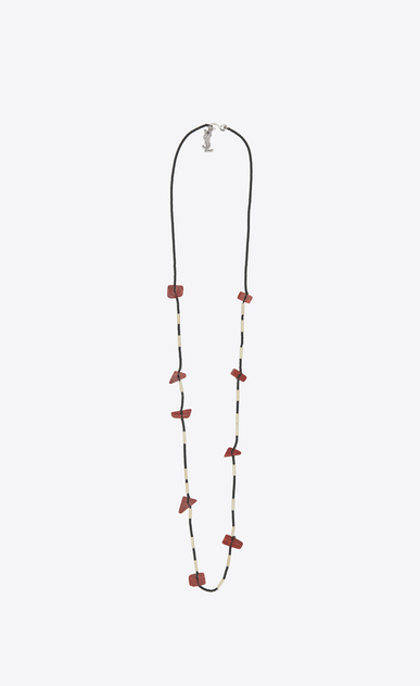 SAINT LAURENT Long necklace Herren tribal necklace in silver-toned brass with red beads a_V4