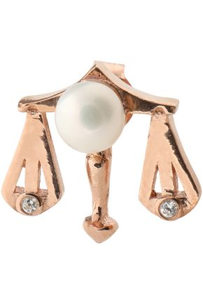 AAMAYA by PRIYANKA Libra rose gold-plated, faux pearl and cubic zirconia earring