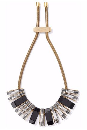 LANVIN Gold-tone, crystal and resin necklace