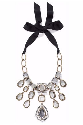 LANVIN Gold and gunmetal-tone crystal necklace