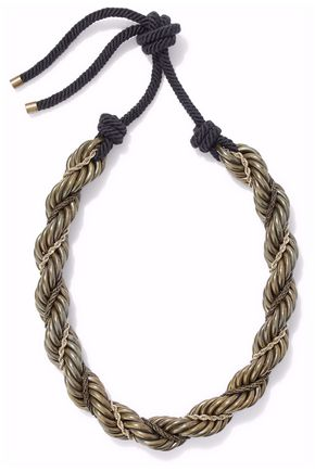 LANVIN Braided gold-tone, resin and rope necklace