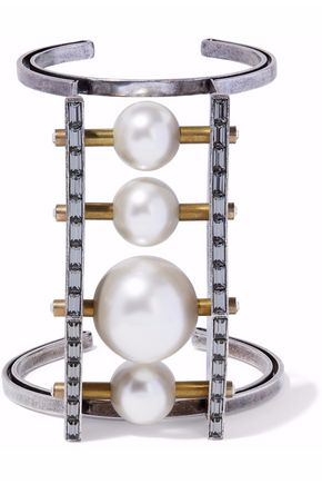 LANVIN Silver and gold-tone, faux pearl and crystal cuff