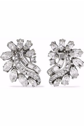 BEN-AMUN Silver-tone Swarovski crystal earrings