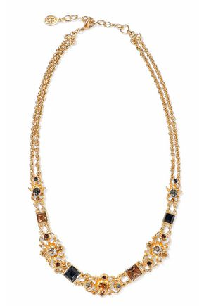 BEN-AMUN Gold-tone crystal necklace