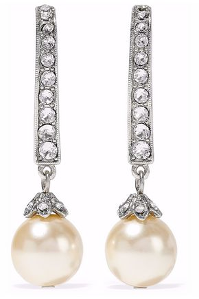 BEN-AMUN Silver-tone, faux pearl and crystal earrings
