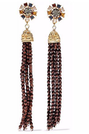 BEN-AMUN Tasseled gold-tone crystal and bead earrings