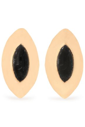 BALMAIN Hammered gold-tone resin earrings