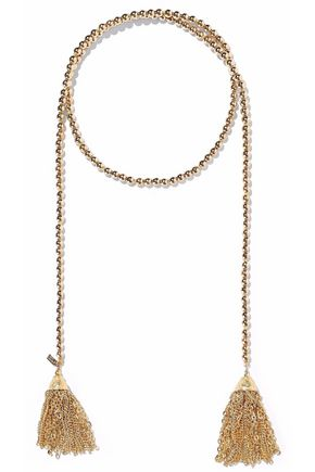 KENNETH JAY LANE Tasseled beaded gold-tone necklace