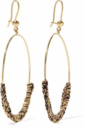 CAROLINA BUCCI 18-karat gold and cord earrings
