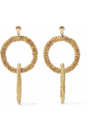 CAROLINA BUCCI 18-karat gold and cord earrings