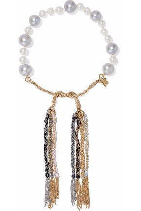 CAROLINA BUCCI Fringed 18-karat gold,  pearl and cord bracelet