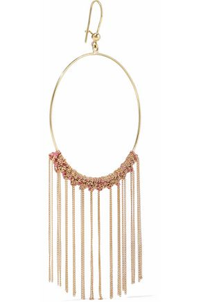 CAROLINA BUCCI Fringed 18-karat gold and silk hoop earrings